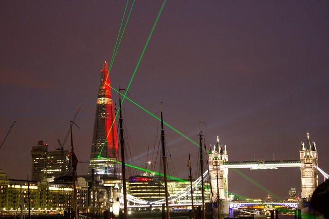 Opening of The Shard in London at night