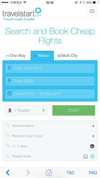 Travelstart App home screen