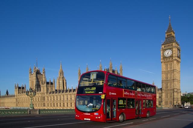A London Bus on Westminster Bridge