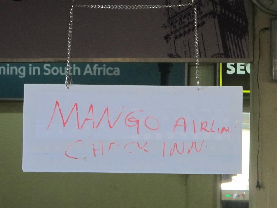 A Makeshift Mango Airlines Check In Counter in Zanzibar