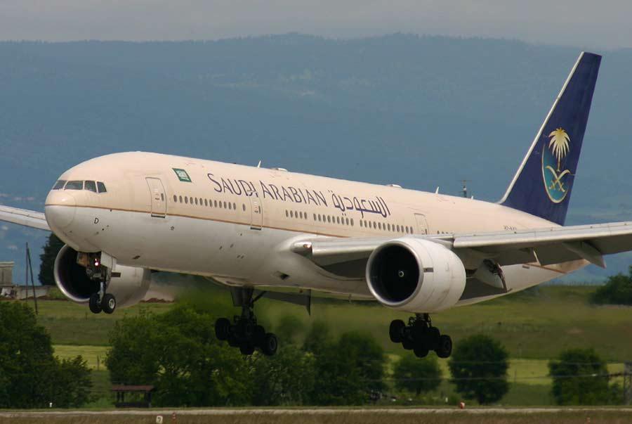 Saudi Airlines plane leaving runway