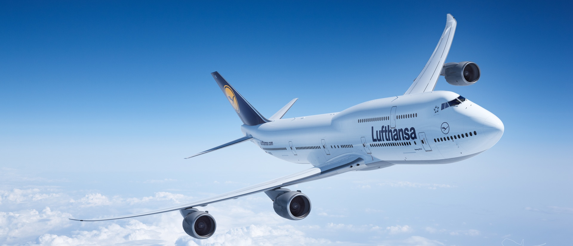 Lufthansa airplane in mid air