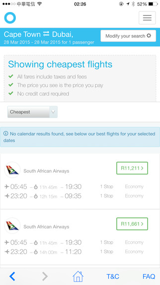Travelstart App flight booking screen