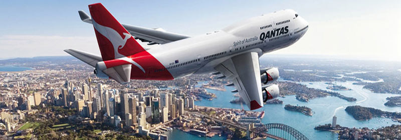 Qantas plane in flight