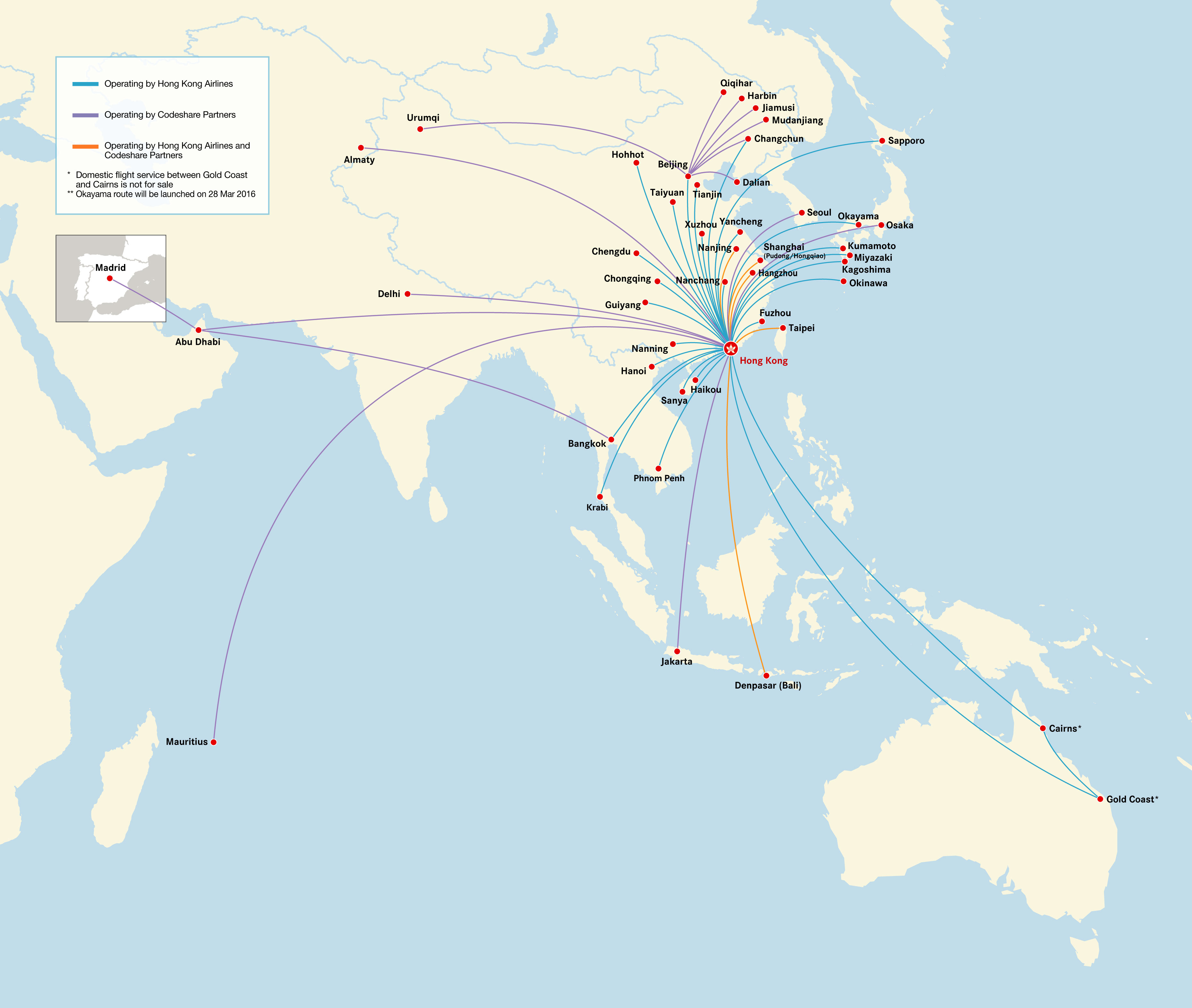 Hong Kong Airlines current routes