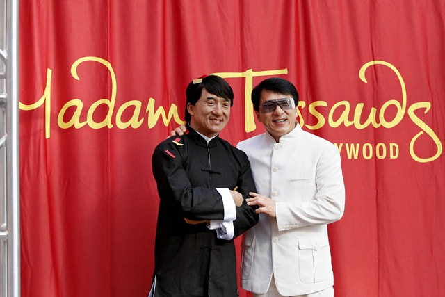 Who's who? Jackie Chan visits his wax replica at Madame Tussauds in London