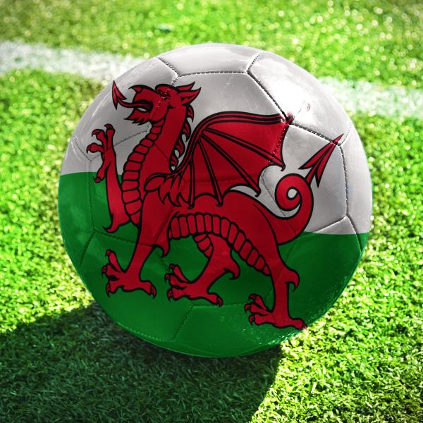 Football with Wales Flag Cardiff